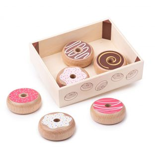Wooden Box with Donuts