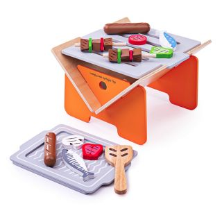 Wooden Barbecue with Accessories, 10 pcs.