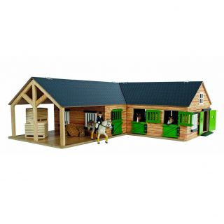 Kids Globe Horse corner stable with 3 boxes and storage room 1:24