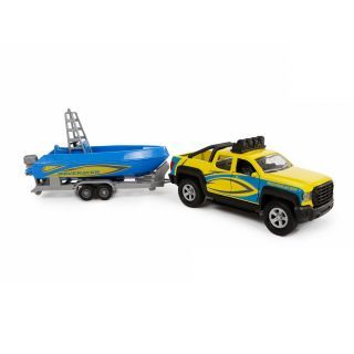 Kids Globe Terrain Car with Trailer and Boat, 29cm