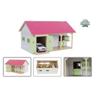 Kids Globe Horse Stable Pink with 2 Boxes and Storage 1:32