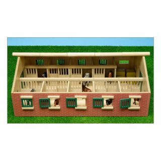 Kids Globe Horse Stable Wood With 9 Horse Stalls 1:32