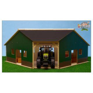Kids Globe Shed Corner Wood For 2 Tractors 1:16