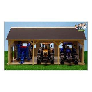 Kids Globe Agricultural Shed Wood For 3 Tractors, 1:16