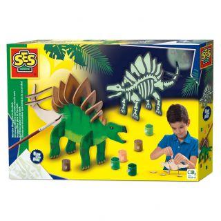 SES Dinosaure en bois qui brille dans le noir