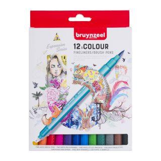 Bruynzeel Fineliner Brush pens, 12st.