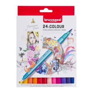 Bruynzeel Fineliner Brush pens, 24 pcs.