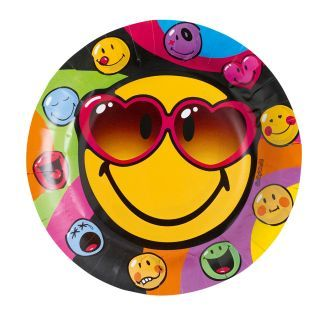Smiley Express Yourself Party plates, 8pcs.