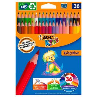 BIC Kids Ecolution Evolution Color Pencils, 36pcs.