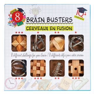 Brain puzzle set Wood and Metal, 8st.