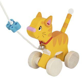 Wooden pull-along cat