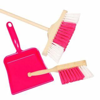 Pelle à poussière avec balayette et balai rose pour enfant