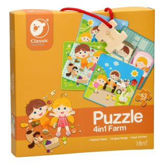 Classic World Wooden Puzzle Farm, 4in1