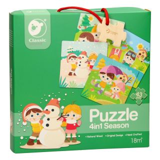 Classic World Wooden Puzzle Seasons, 4in1