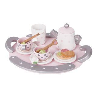 Classic World Wooden Tea Set Pink, 13 pcs.
