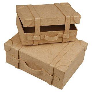 Papier mache Suitcases Handmade, set of 2