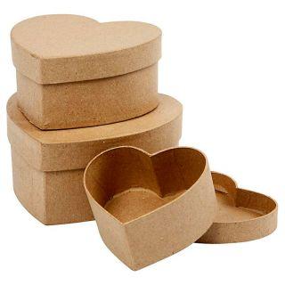 Hearts Boxes Papier-mache, 3pcs.