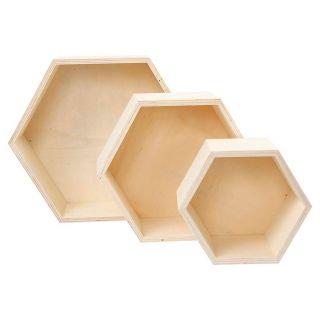 Hexagonal Showbox, 3pcs.